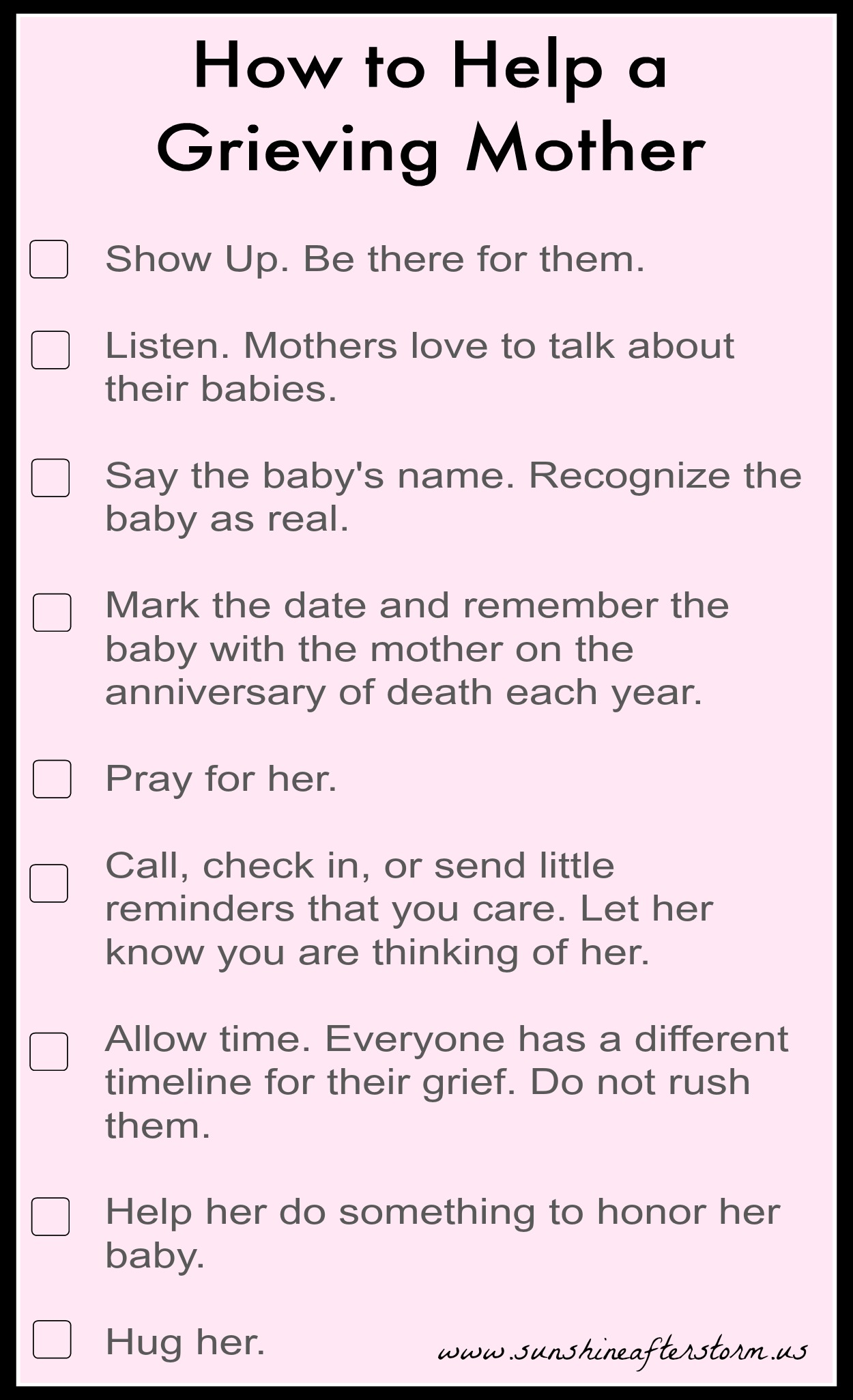 Tips for helping a grieving mother