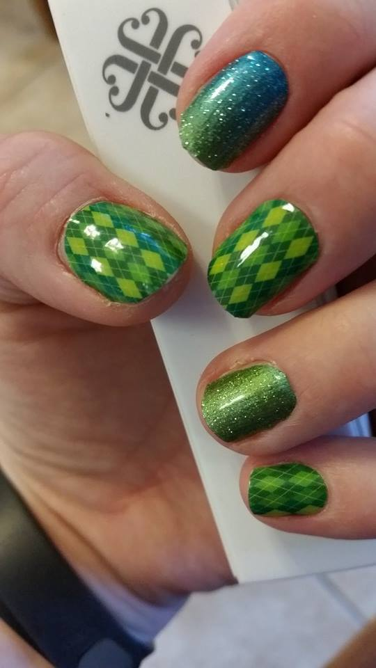 My Jamberry nails for St. Patricks day!